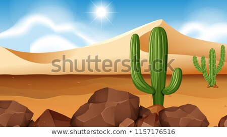 Stock photo: A desert scence with pyramids