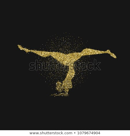 Woman silhouette doing yoga pose in gold glitter Stock photo © cienpies