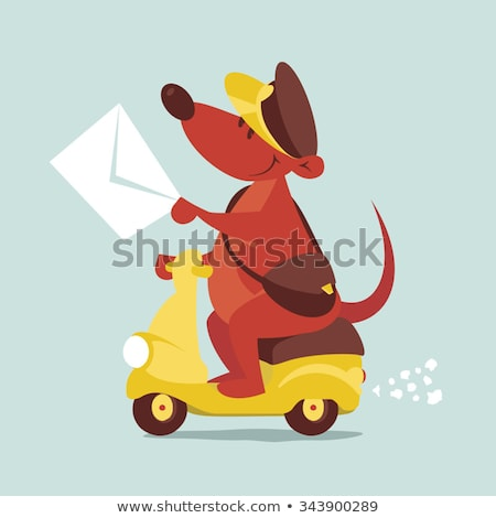 Cartoon Smiling Mail Carrier Mouse Stock photo © cthoman