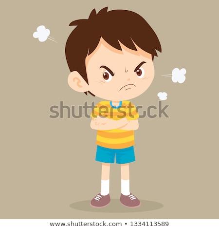Cartoon ragazzo arrabbiato illustrazione guardando nero Foto d'archivio © cthoman