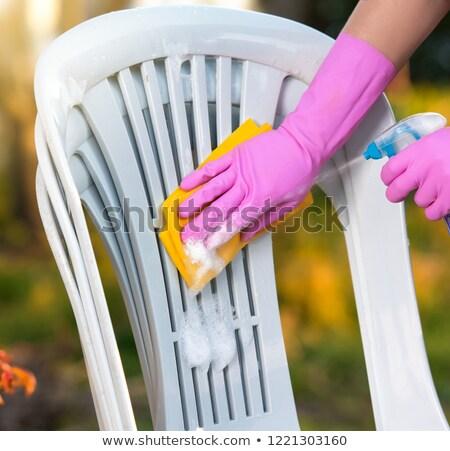 műanyag · székek · asztal · illusztráció · szett · bútor - stock fotó © olegtoka