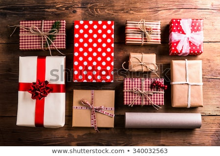 Christmas decorations laid in order Stock photo © dash