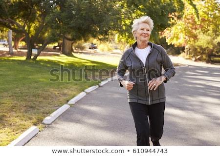 senior · donna · jogging · parco · felice · esecuzione - foto d'archivio © boggy