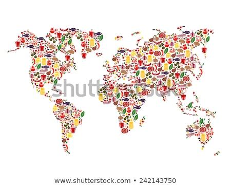 Photo stock: Fruits · alimentaire · carte · du · monde · saine · nutrition · cartoon