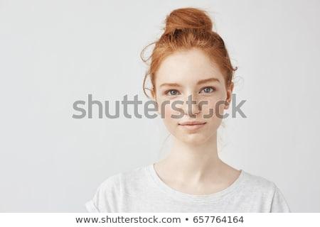 Colorful portrait of a beautiful redhead woman Stock photo © konradbak