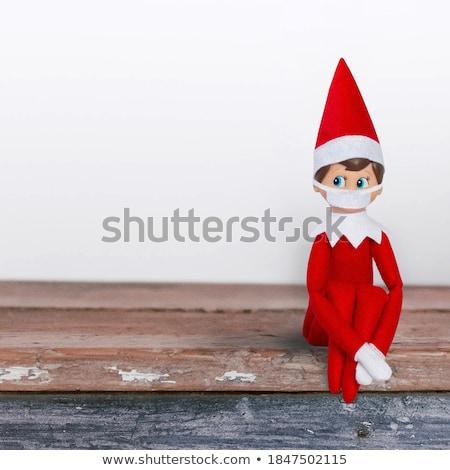 Manó illusztráció közelkép zöld kalap karácsony Stock fotó © colematt