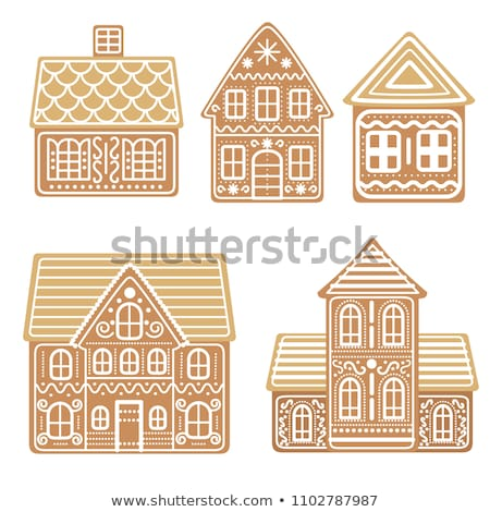 vector gingerbread house cookie set stock photo © freesoulproduction