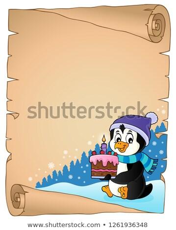 Pingwin ciasto pergamin papieru sztuki Zdjęcia stock © clairev