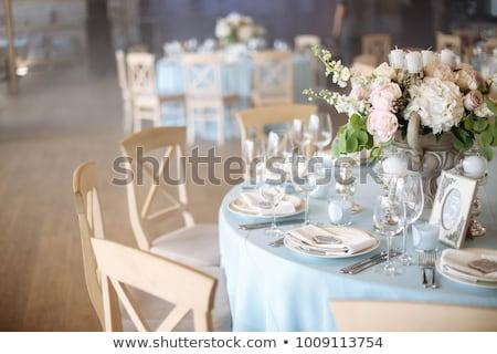 banket · tabel · geserveerd · bruiloft · zonne · gloed - stockfoto © ruslanshramko