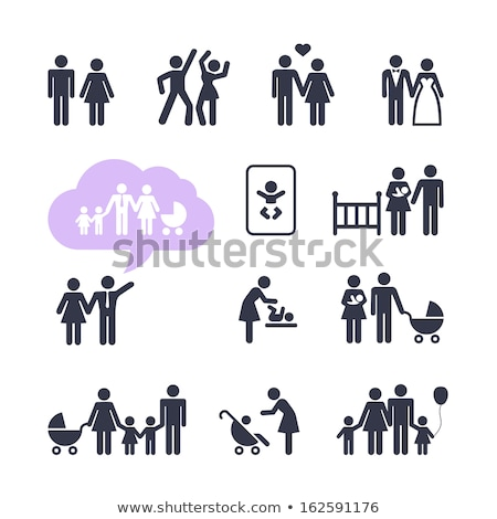 Couple People with Pram Family Isolated Vector Stock photo © robuart