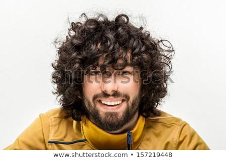 Retrato alegre moço cabelos cacheados isolado branco Foto stock © deandrobot