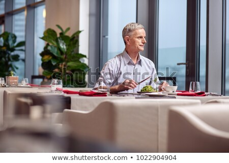 idős · férfi · eszik · freskó · ebéd · bor - stock fotó © boggy