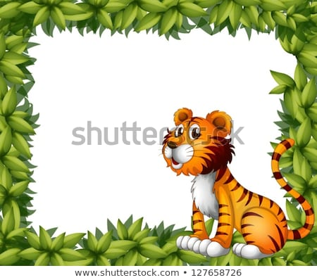 Cartoon tigre marco frontera cute Foto stock © mumut