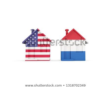 Kettő házak zászlók Egyesült Államok Hollandia izolált Stock fotó © MikhailMishchenko