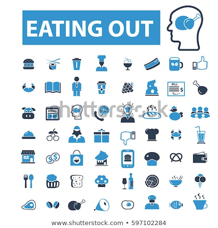 Stock photo: vector set of people eating bread