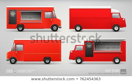 Old red van realistic vector mock-up Stock photo © YuriSchmidt