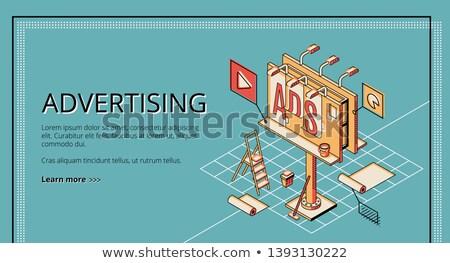Stok fotoğraf: Color vintage advertising agency banner