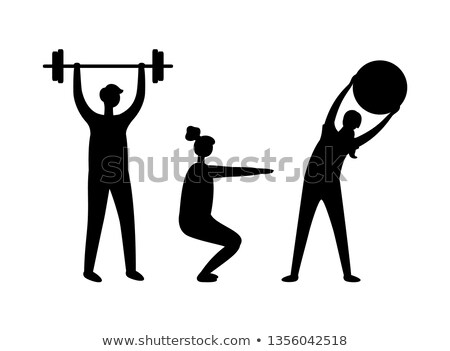 Sporty People in Black and White, Pumping Vector Stock photo © robuart