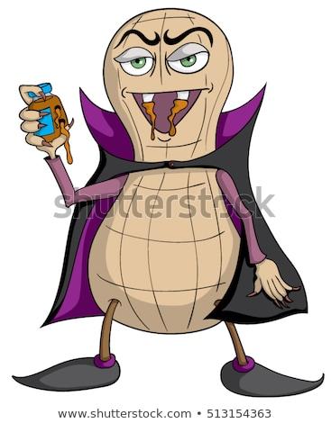 Drôle arachide mascotte dessinée personnage jar Photo stock © hittoon