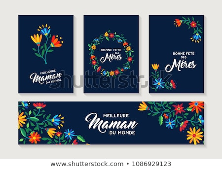 French Mothers Day floral card for moms love Stock photo © cienpies