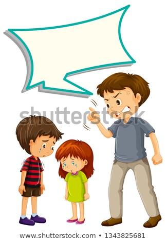 Father upset with children with speech balloon stock photo © colematt