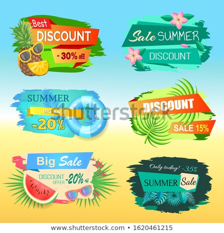hot sale 20 percent off summer sticker pineapple stock photo © robuart