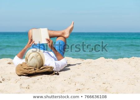 座って ハンモック ビーチ 背面図 見える ストックフォト © AndreyPopov