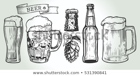 Hand Drawn Mug With Froth Bubble Beer Drink Vector Stock photo © pikepicture