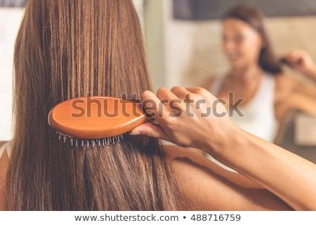 Fiatal gyönyörű hosszú hajú nő mosolyog tükör szépség Stock fotó © dashapetrenko