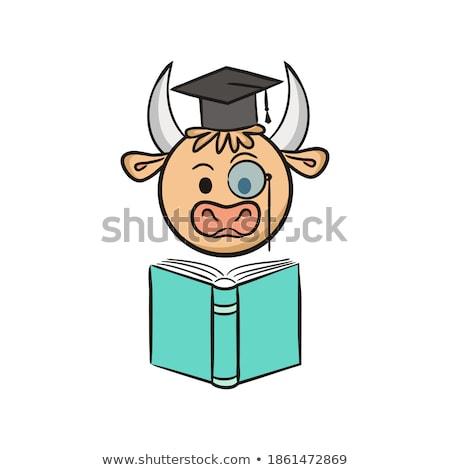Dziecko otwarte głowie akademicki książek ilustracja Zdjęcia stock © lenm
