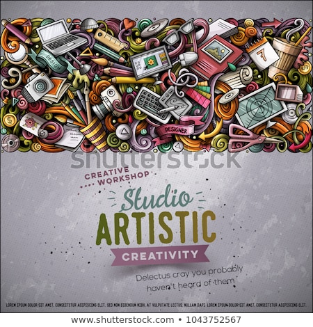 cartoon vector doodles design card artistic funny border stock photo © balabolka