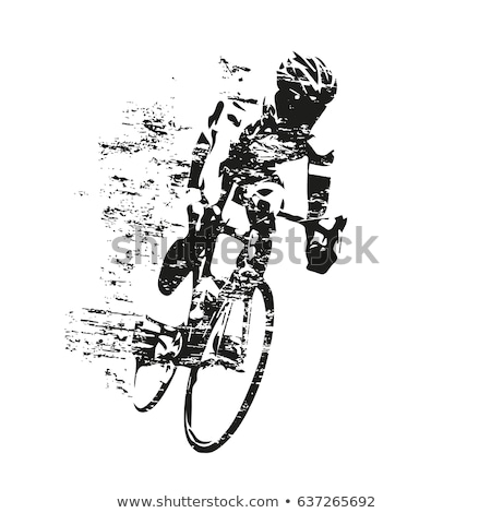 cyclist riding on bicycle vector illustration and poster stock photo © marish