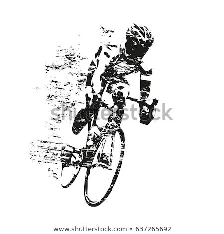 Kerékpáros lovaglás bicikli poszter út férfi Stock fotó © marish
