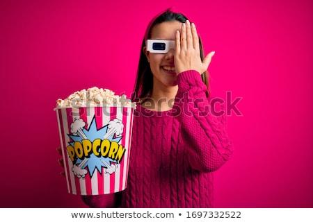 Сток-фото: попкорн · 3d · очки · кино · два · синий · фильма