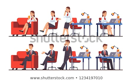 woman sitting on couch typing on laptop vector stock photo © robuart