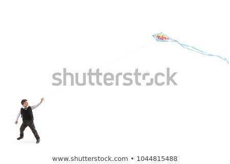Little boy flying kite isolated on white Stock photo © sgursozlu