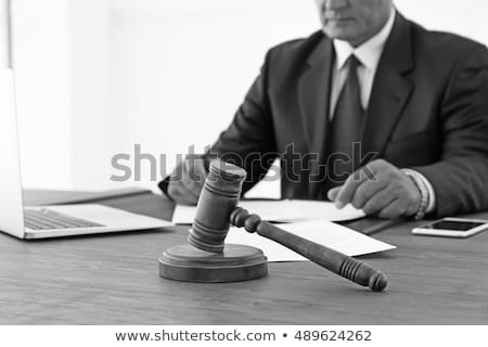 Сток-фото: Gavel On Wooden Table And Lawyer Or Judge Working With Agreement