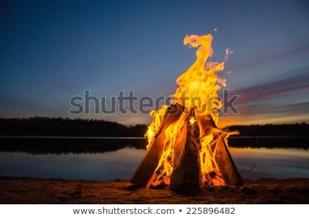 cascalho · praia · pôr · do · sol · cinco · parque - foto stock © galitskaya