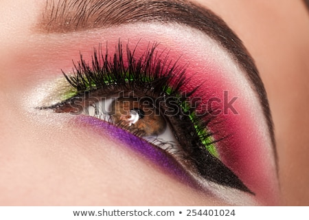 Beauty, cosmetics and makeup. Magic eyes look with bright makeup. Macro shot of beautiful woman's fa Stock photo © serdechny