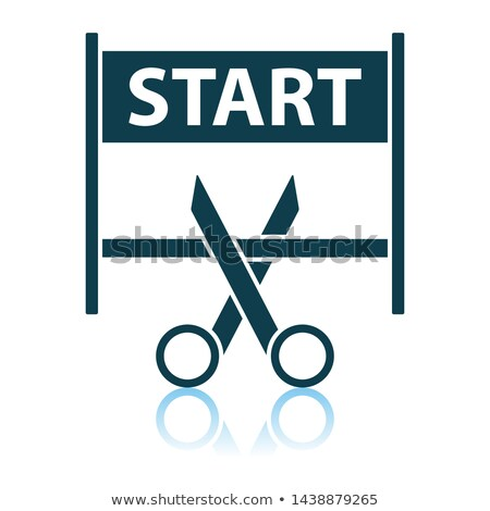 Scissors Cutting Tape Between Start Gate Icon Stock photo © angelp