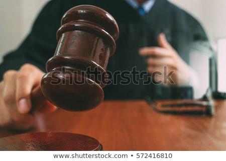 Közelkép kalapács férfi ügyvéd dolgozik mérleg Stock fotó © Freedomz
