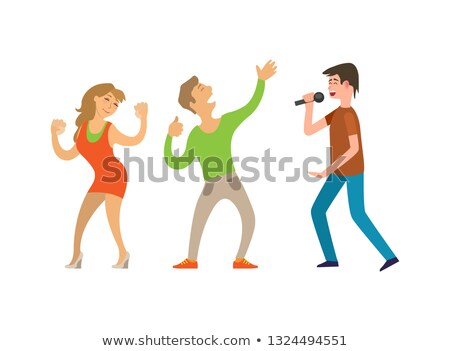 singing and listening group side view stage vector stock photo © robuart