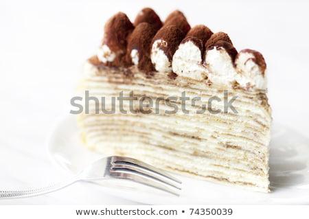 スライス ティラミス クレープ ケーキ プレート 食品 ストックフォト © Alex9500