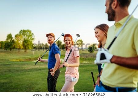 Foto d'archivio: Due · amici · giocare · golf · maschio · golfista