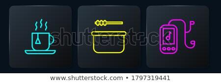 Szauna vödör csésze merőkanál ülés fa Stock fotó © nomadsoul1