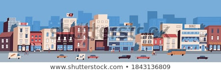 Busy Traffic Road with Colorful Cars Cityscape Vector Stock photo © robuart