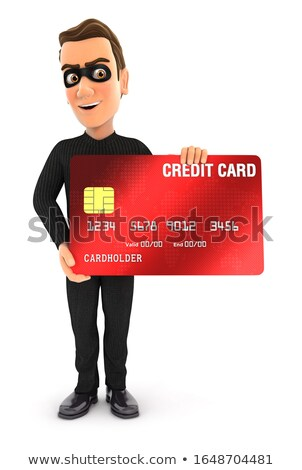 3d thief standing with credit card Stock photo © 3dmask