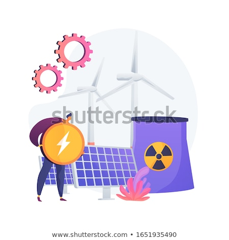 Atomic reactor, windmill and solar battery, energy production vector concept metaphor. Stock photo © RAStudio