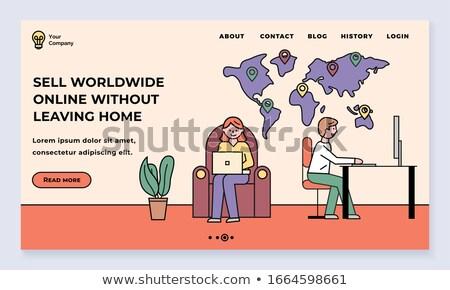 Elad világszerte online otthon háló nő Stock fotó © robuart