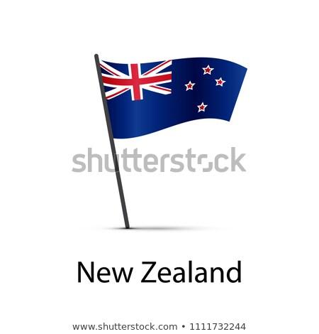 Nova Zelândia bandeira pólo elemento branco Foto stock © evgeny89